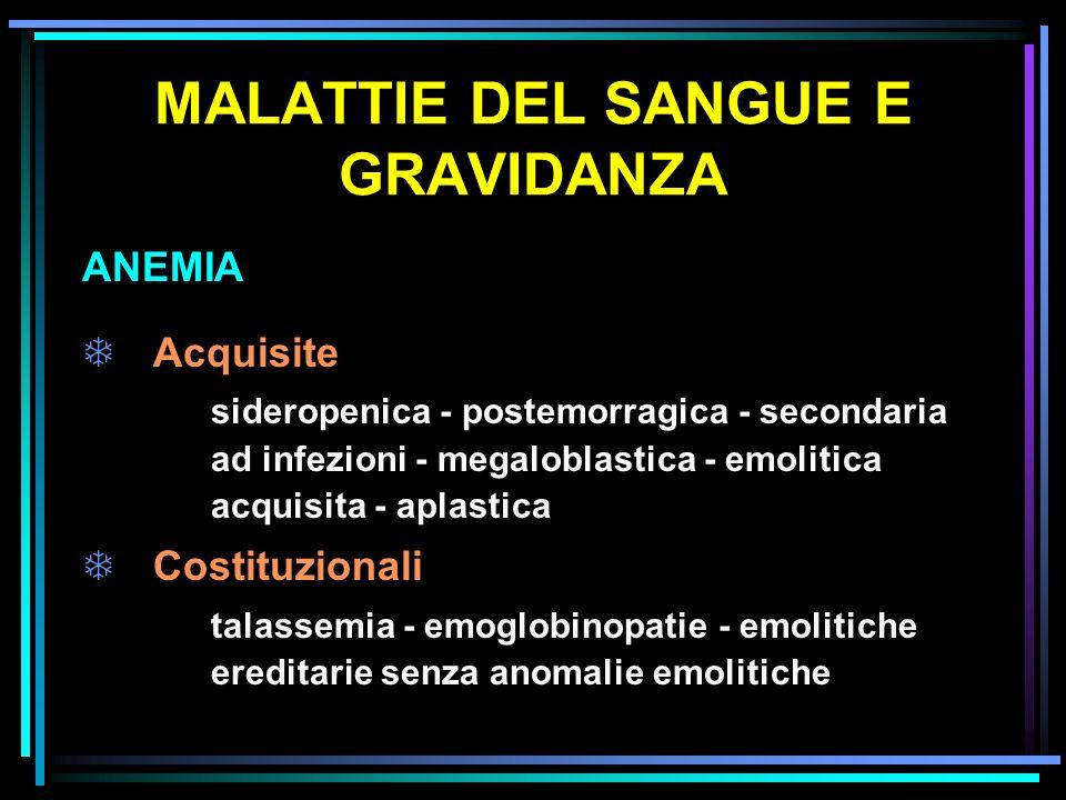 MALATTIE DEL SANGUE E GRAVIDANZA ANEMIA TAcquisite sideropenica - postemorragica - secondaria ad infezioni - megaloblastica - emolitica acquisita - ap