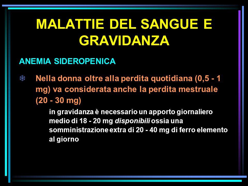 MALATTIE DEL SANGUE E GRAVIDANZA ANEMIA SIDEROPENICA TNella donna oltre alla perdita quotidiana (0,5 - 1 mg) va considerata anche la perdita mestruale