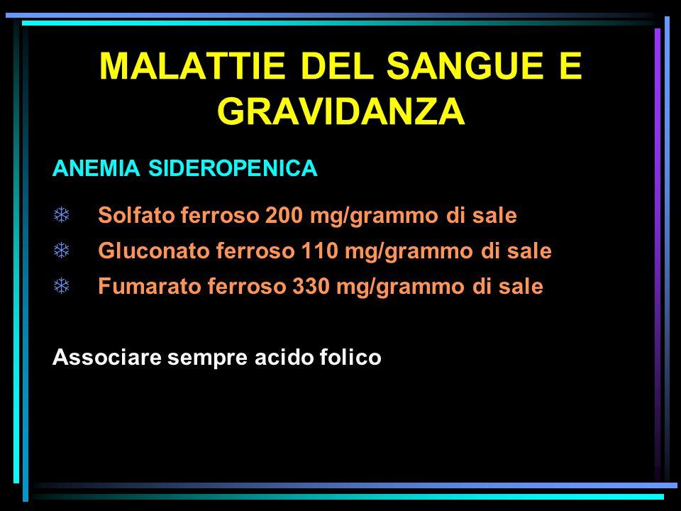 MALATTIE DEL SANGUE E GRAVIDANZA ANEMIA SIDEROPENICA TSolfato ferroso 200 mg/grammo di sale TGluconato ferroso 110 mg/grammo di sale TFumarato ferroso