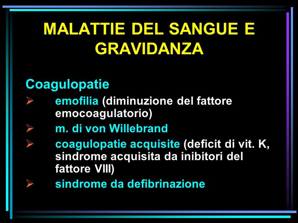 MALATTIE DEL SANGUE E GRAVIDANZA Coagulopatie emofilia (diminuzione del fattore emocoagulatorio) m. di von Willebrand coagulopatie acquisite (deficit