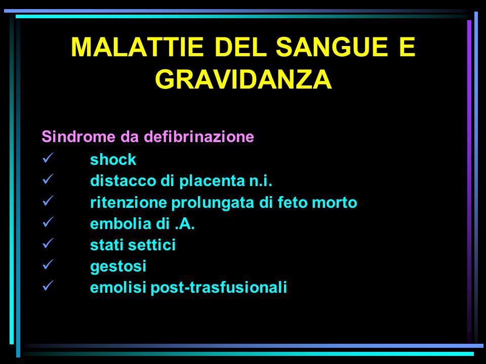 MALATTIE DEL SANGUE E GRAVIDANZA Sindrome da defibrinazione shock distacco di placenta n.i. ritenzione prolungata di feto morto embolia di.A. stati se