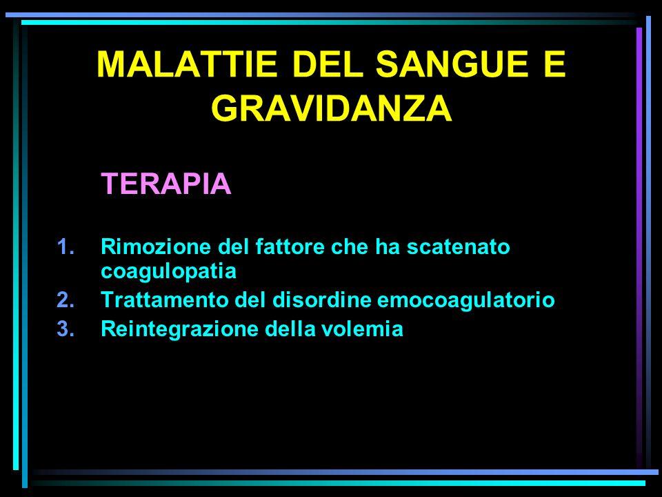 MALATTIE DEL SANGUE E GRAVIDANZA TERAPIA 1.Rimozione del fattore che ha scatenato coagulopatia 2.Trattamento del disordine emocoagulatorio 3.Reintegra