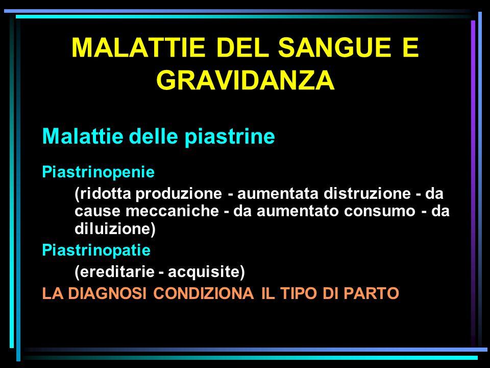 MALATTIE DEL SANGUE E GRAVIDANZA Malattie delle piastrine Piastrinopenie (ridotta produzione - aumentata distruzione - da cause meccaniche - da aument