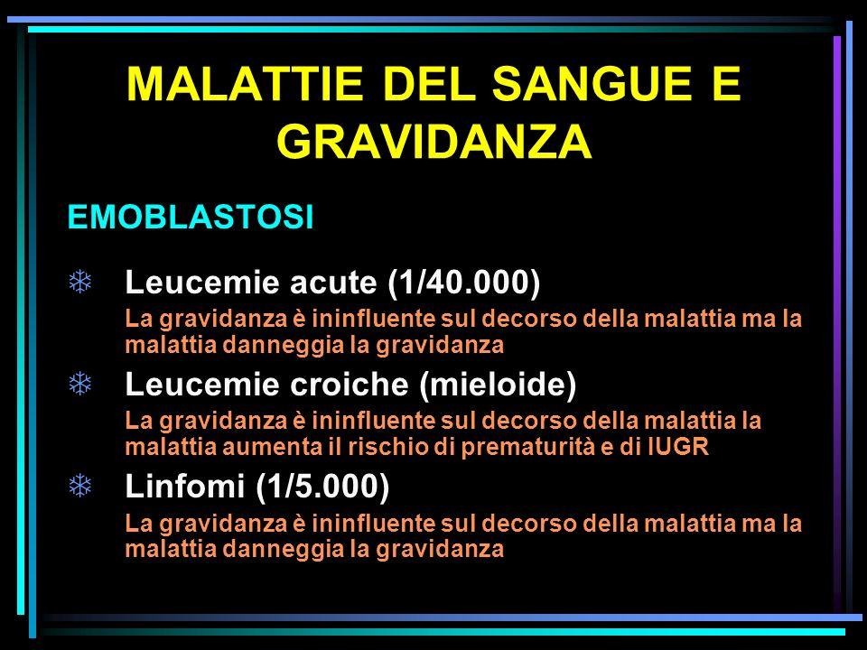MALATTIE DEL SANGUE E GRAVIDANZA EMOBLASTOSI TLeucemie acute (1/40.000) La gravidanza è ininfluente sul decorso della malattia ma la malattia danneggi