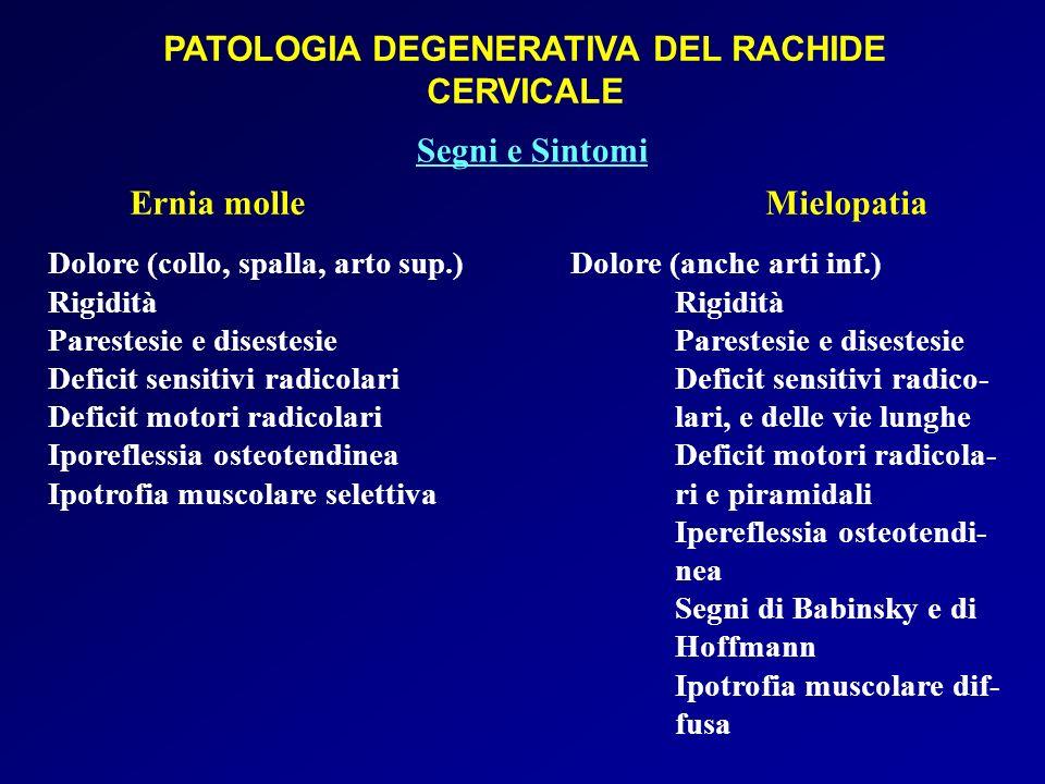 PATOLOGIA DEGENERATIVA DEL RACHIDE CERVICALE Ernia molle Mielopatia Dolore (collo, spalla, arto sup.)Dolore (anche arti inf.)RigiditàParestesie e dise