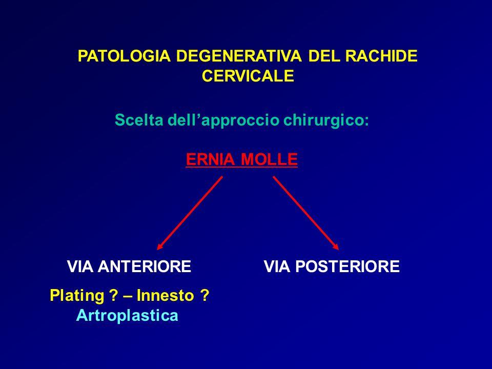 PATOLOGIA DEGENERATIVA DEL RACHIDE CERVICALE Scelta dellapproccio chirurgico: ERNIA MOLLE VIA ANTERIOREVIA POSTERIORE Plating ? – Innesto ? Artroplast