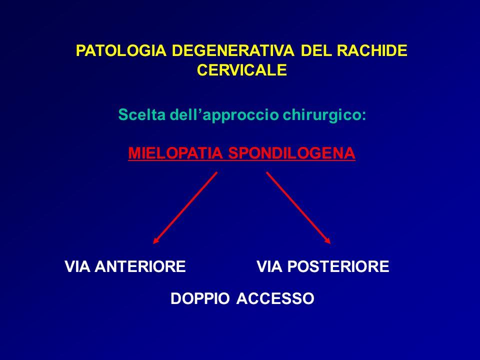 PATOLOGIA DEGENERATIVA DEL RACHIDE CERVICALE Scelta dellapproccio chirurgico: MIELOPATIA SPONDILOGENA VIA ANTERIOREVIA POSTERIORE DOPPIO ACCESSO