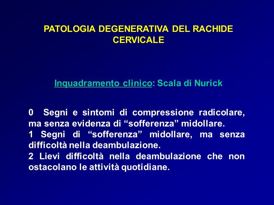 PATOLOGIA DEGENERATIVA DEL RACHIDE CERVICALE Inquadramento clinico: Scala di Nurick 0 Segni e sintomi di compressione radicolare, ma senza evidenza di