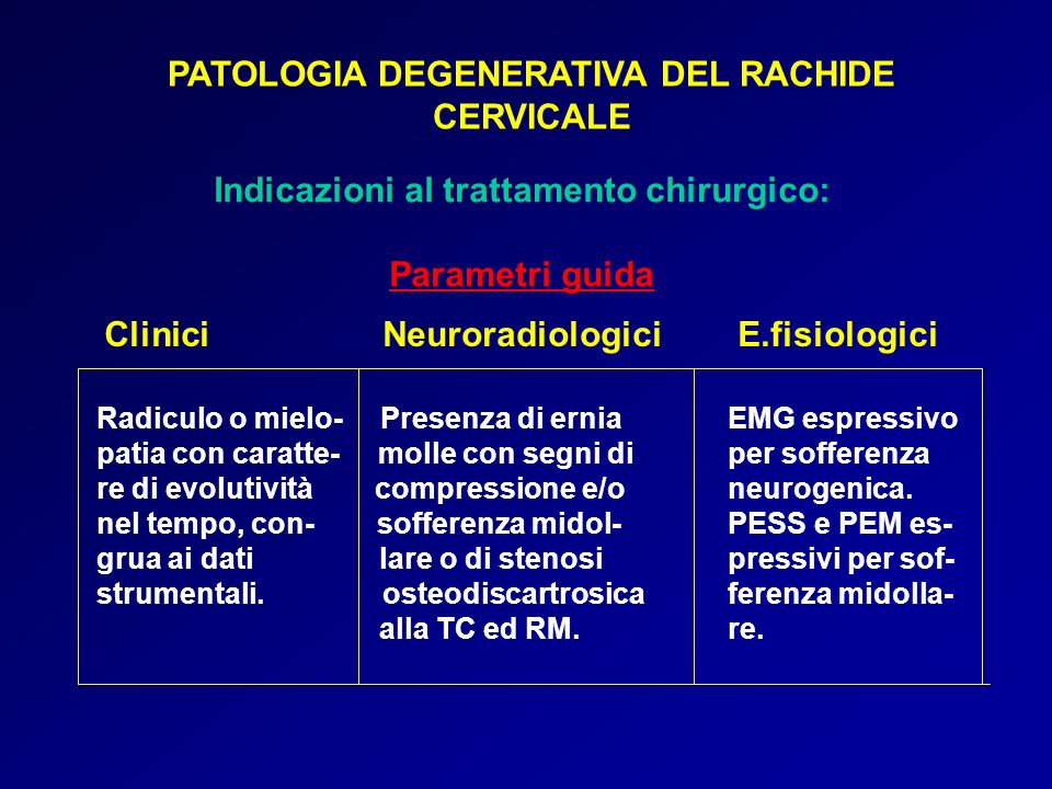 PATOLOGIA DEGENERATIVA DEL RACHIDE CERVICALE Indicazioni al trattamento chirurgico: Parametri guida Clinici Neuroradiologici E.fisiologici Radiculo o