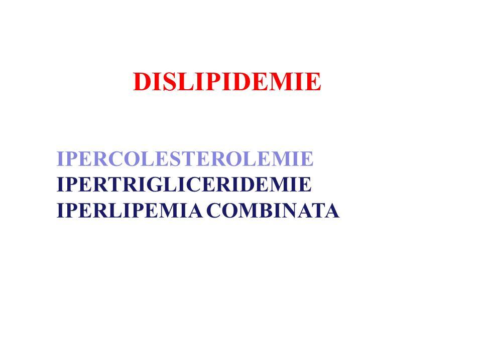 DISLIPIDEMIE IPERCOLESTEROLEMIE IPERTRIGLICERIDEMIE IPERLIPEMIA COMBINATA