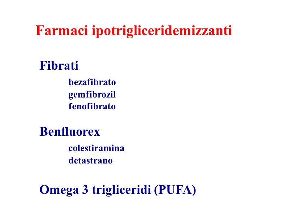 Farmaci ipotrigliceridemizzanti Fibrati bezafibrato gemfibrozil fenofibrato Benfluorex colestiramina detastrano Omega 3 trigliceridi (PUFA)