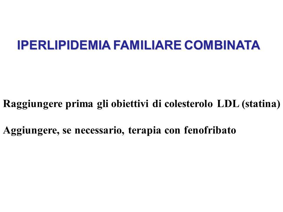 IPERLIPIDEMIA FAMILIARE COMBINATA Raggiungere prima gli obiettivi di colesterolo LDL (statina) Aggiungere, se necessario, terapia con fenofribato