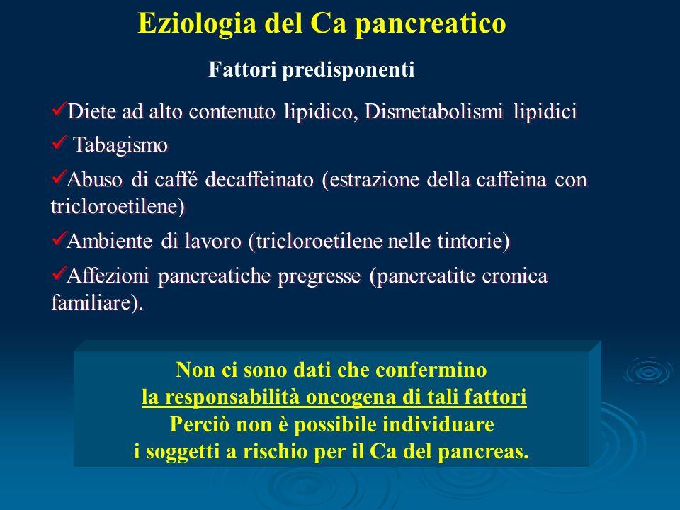 Diete ad alto contenuto lipidico, Dismetabolismi lipidici Tabagismo Abuso di caffé decaffeinato (estrazione della caffeina con tricloroetilene) Ambiente di lavoro (tricloroetilene nelle tintorie) Affezioni pancreatiche pregresse (pancreatite cronica familiare).