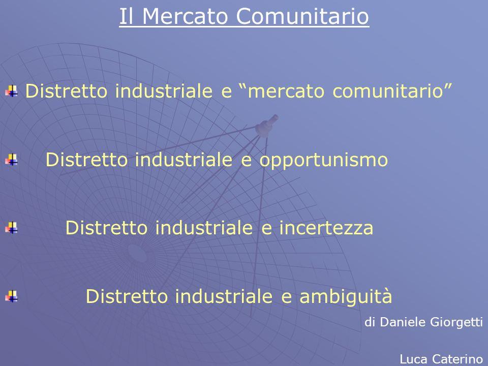 Il Mercato Comunitario Distretto industriale e mercato comunitario Distretto industriale e opportunismo Distretto industriale e incertezza Distretto i