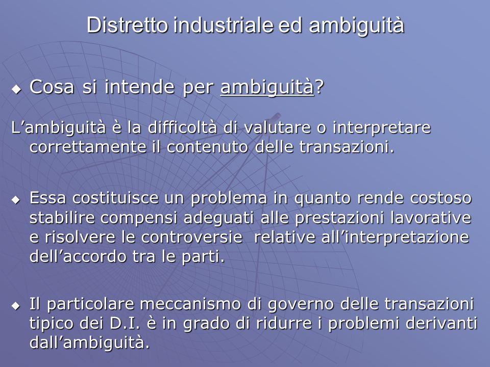 Distretto industriale ed ambiguità Cosa si intende per ambiguità? Cosa si intende per ambiguità? Lambiguità è la difficoltà di valutare o interpretare