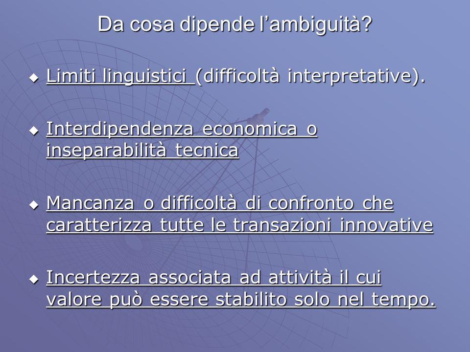 Da cosa dipende lambiguità? Limiti linguistici (difficoltà interpretative). Limiti linguistici (difficoltà interpretative). Interdipendenza economica