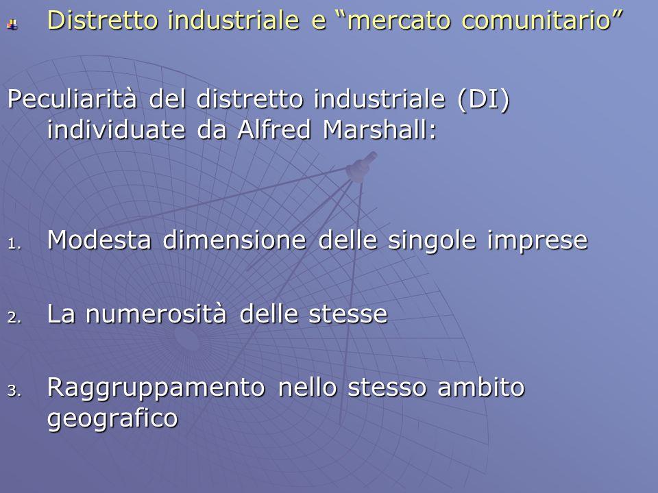 Distretto industriale e mercato comunitario Peculiarità del distretto industriale (DI) individuate da Alfred Marshall: 1. Modesta dimensione delle sin