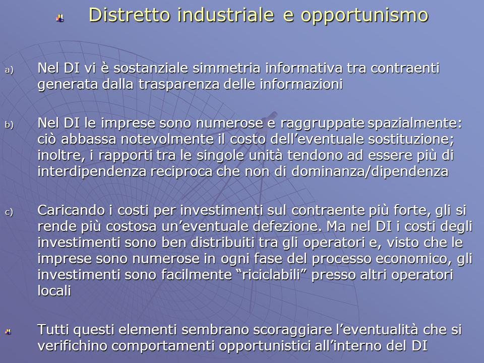 Distretto industriale e opportunismo a) Nel DI vi è sostanziale simmetria informativa tra contraenti generata dalla trasparenza delle informazioni b)