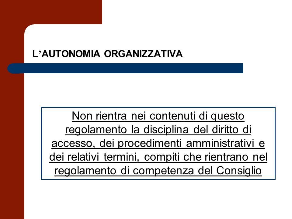L AUTONOMIA ORGANIZZATIVA Non rientra nei contenuti di questo regolamento la disciplina del diritto di accesso, dei procedimenti amministrativi e dei