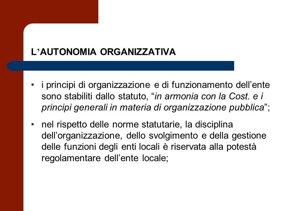 L AUTONOMIA ORGANIZZATIVA i principi di organizzazione e di funzionamento dellente sono stabiliti dallo statuto, in armonia con la Cost. e i principi