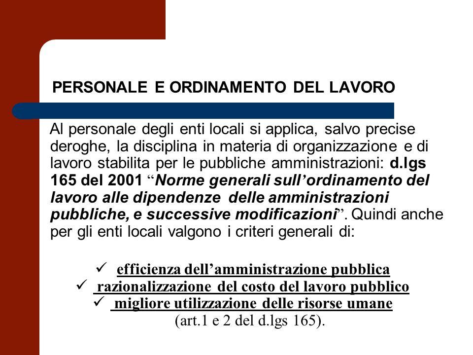 PERSONALE E ORDINAMENTO DEL LAVORO Al personale degli enti locali si applica, salvo precise deroghe, la disciplina in materia di organizzazione e di l