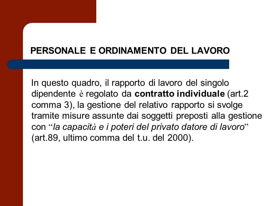 PERSONALE E ORDINAMENTO DEL LAVORO In questo quadro, il rapporto di lavoro del singolo dipendente è regolato da contratto individuale (art.2 comma 3),