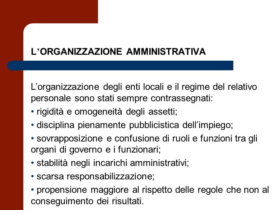 L ORGANIZZAZIONE AMMINISTRATIVA Lorganizzazione degli enti locali e il regime del relativo personale sono stati sempre contrassegnati: rigidità e omog