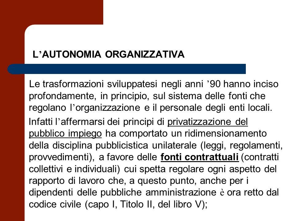 L AUTONOMIA ORGANIZZATIVA Le trasformazioni sviluppatesi negli anni 90 hanno inciso profondamente, in principio, sul sistema delle fonti che regolano