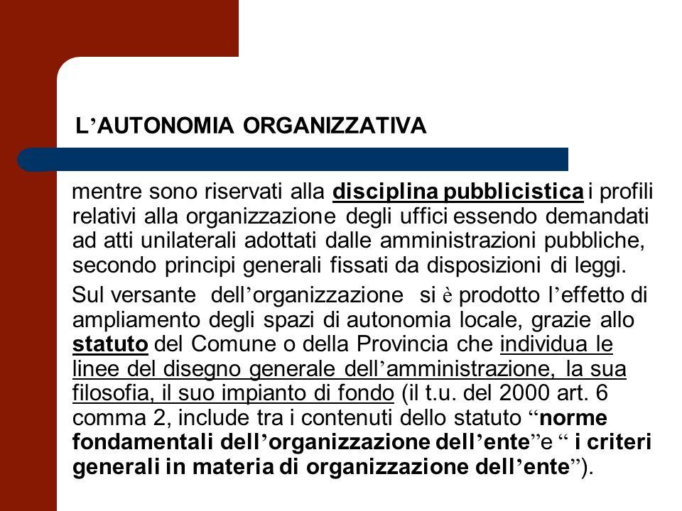 L AUTONOMIA ORGANIZZATIVA mentre sono riservati alla disciplina pubblicistica i profili relativi alla organizzazione degli uffici essendo demandati ad