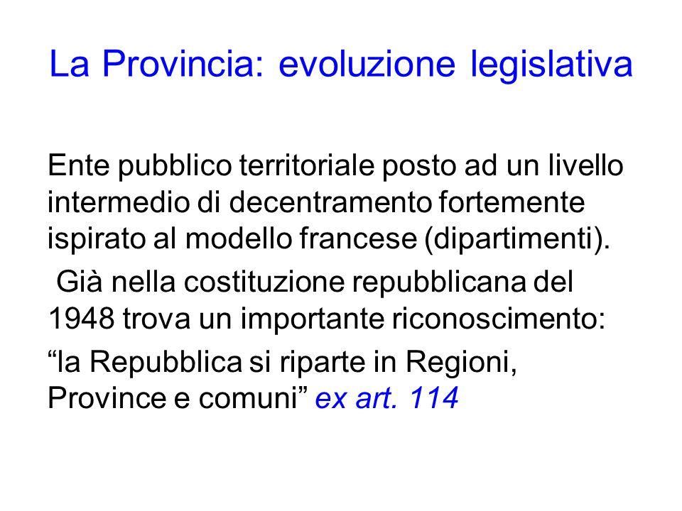 La Provincia: evoluzione legislativa Ente pubblico territoriale posto ad un livello intermedio di decentramento fortemente ispirato al modello frances