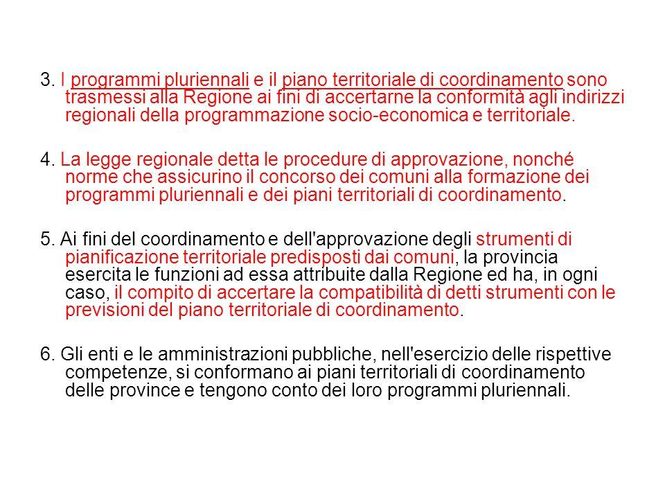 3. I programmi pluriennali e il piano territoriale di coordinamento sono trasmessi alla Regione ai fini di accertarne la conformità agli indirizzi reg