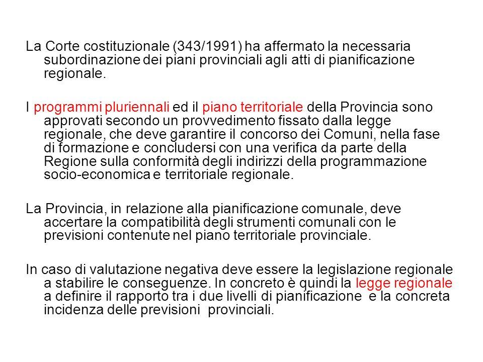 La Corte costituzionale (343/1991) ha affermato la necessaria subordinazione dei piani provinciali agli atti di pianificazione regionale. I programmi