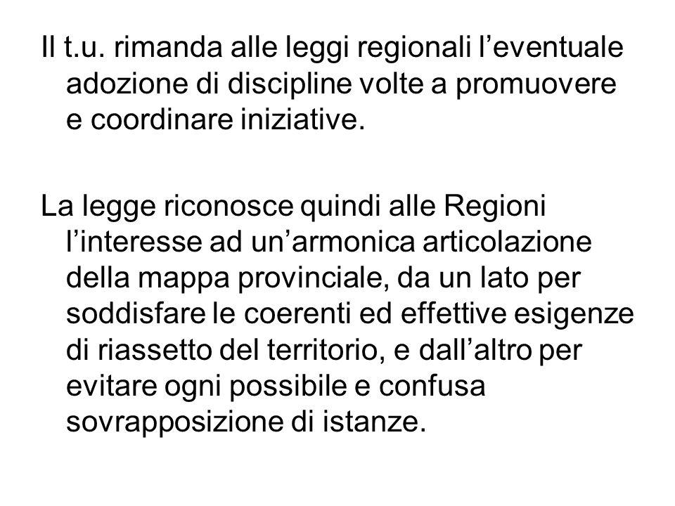 Il t.u. rimanda alle leggi regionali leventuale adozione di discipline volte a promuovere e coordinare iniziative. La legge riconosce quindi alle Regi