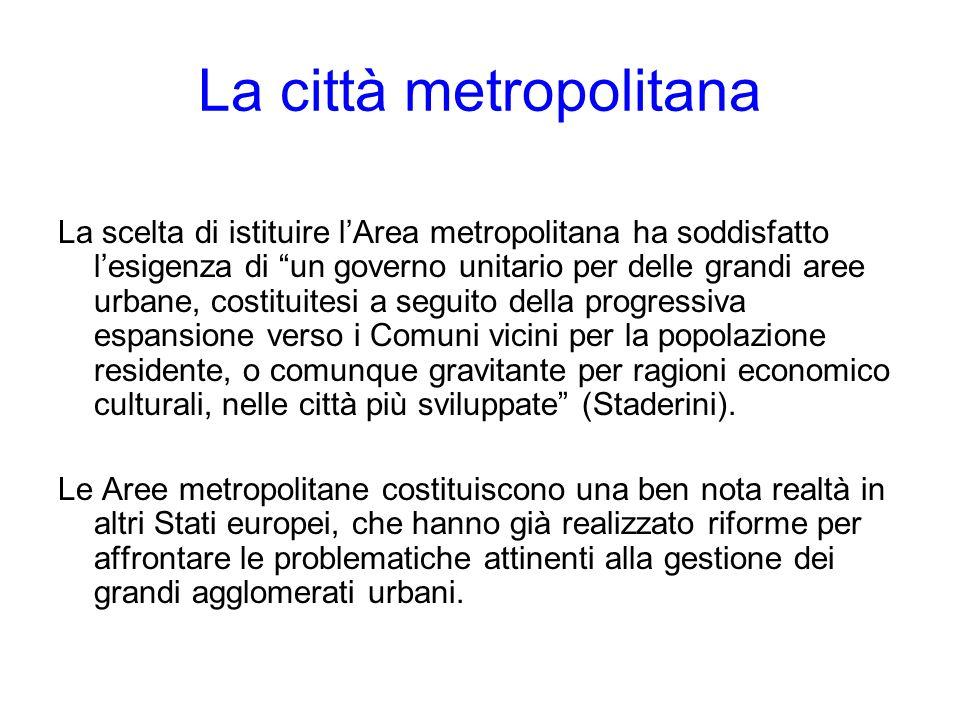 La città metropolitana La scelta di istituire lArea metropolitana ha soddisfatto lesigenza di un governo unitario per delle grandi aree urbane, costit