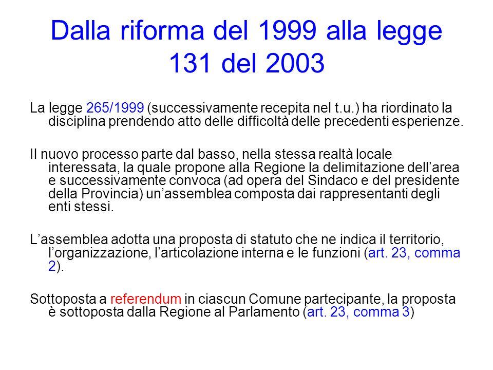 Dalla riforma del 1999 alla legge 131 del 2003 La legge 265/1999 (successivamente recepita nel t.u.) ha riordinato la disciplina prendendo atto delle