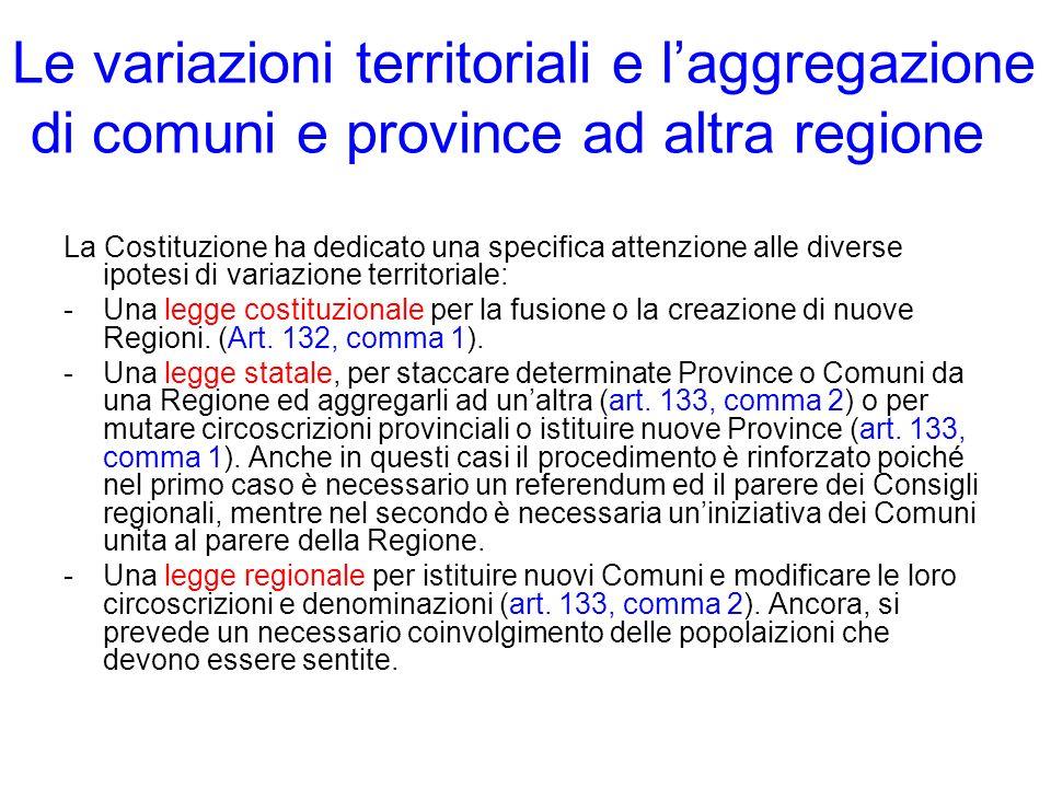 Le variazioni territoriali e laggregazione di comuni e province ad altra regione La Costituzione ha dedicato una specifica attenzione alle diverse ipo