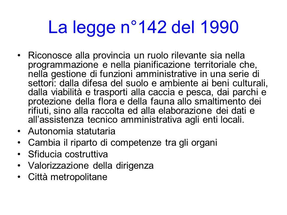 La legge n°142 del 1990 Riconosce alla provincia un ruolo rilevante sia nella programmazione e nella pianificazione territoriale che, nella gestione d
