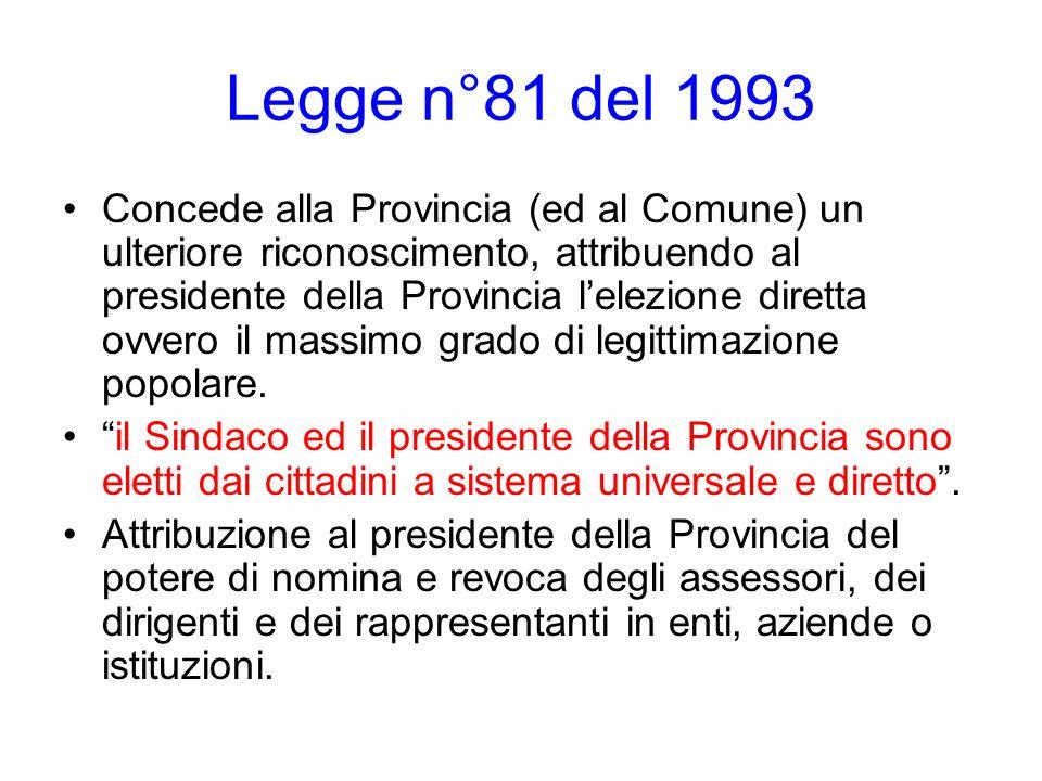Legge n°81 del 1993 Concede alla Provincia (ed al Comune) un ulteriore riconoscimento, attribuendo al presidente della Provincia lelezione diretta ovv