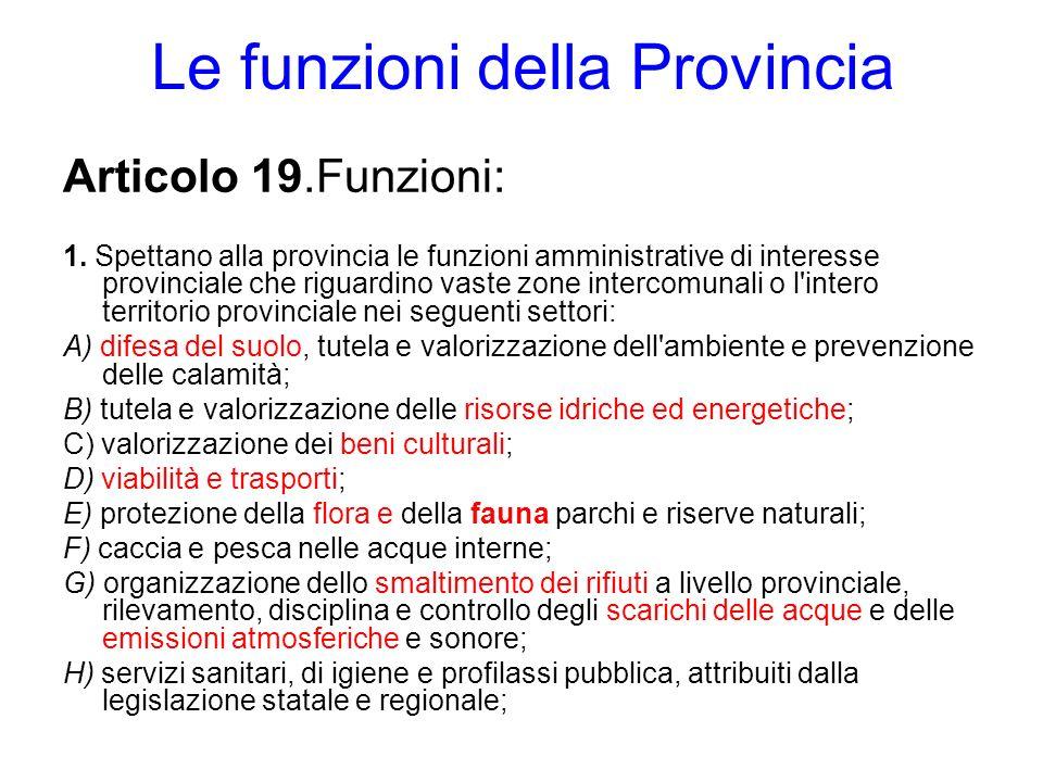 Le funzioni della Provincia Articolo 19.Funzioni: 1. Spettano alla provincia le funzioni amministrative di interesse provinciale che riguardino vaste
