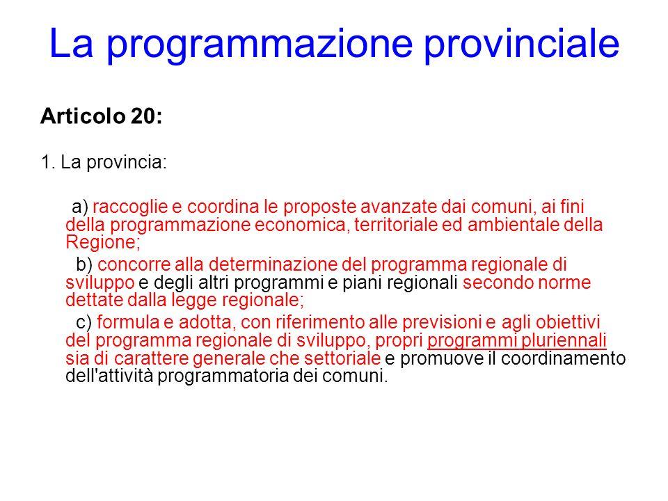 La programmazione provinciale Articolo 20: 1. La provincia: a) raccoglie e coordina le proposte avanzate dai comuni, ai fini della programmazione econ