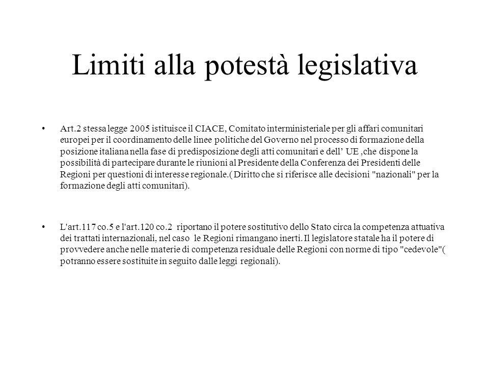 Limiti alla potestà legislativa Art.2 stessa legge 2005 istituisce il CIACE, Comitato interministeriale per gli affari comunitari europei per il coord