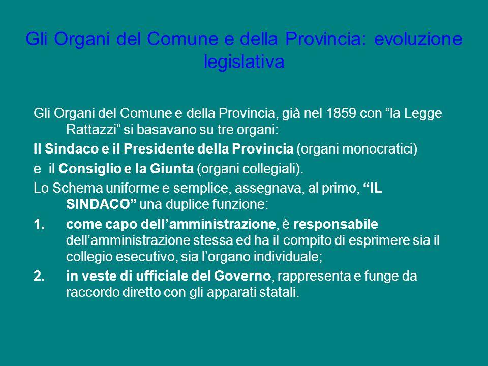 Gli Organi del Comune e della Provincia: evoluzione legislativa Gli Organi del Comune e della Provincia, già nel 1859 con la Legge Rattazzi si basavan