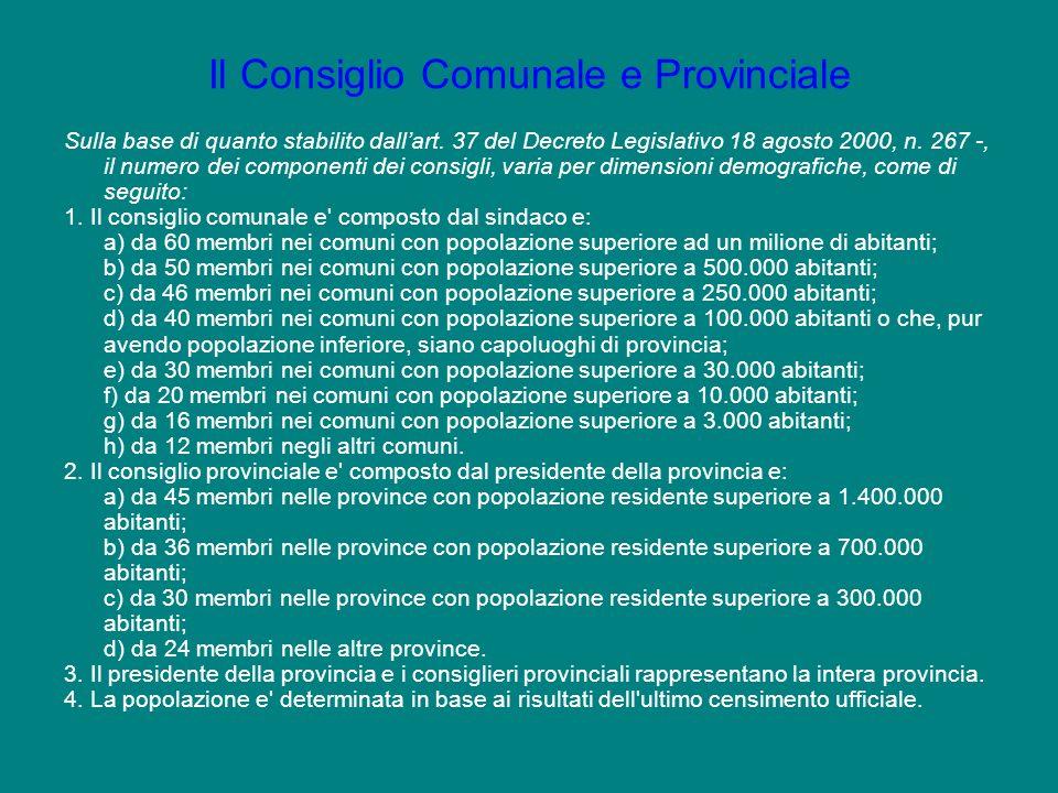 Il Consiglio Comunale e Provinciale Sulla base di quanto stabilito dallart. 37 del Decreto Legislativo 18 agosto 2000, n. 267 -, il numero dei compone