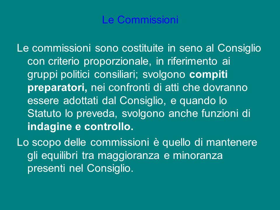 Le commissioni sono costituite in seno al Consiglio con criterio proporzionale, in riferimento ai gruppi politici consiliari; svolgono compiti prepara