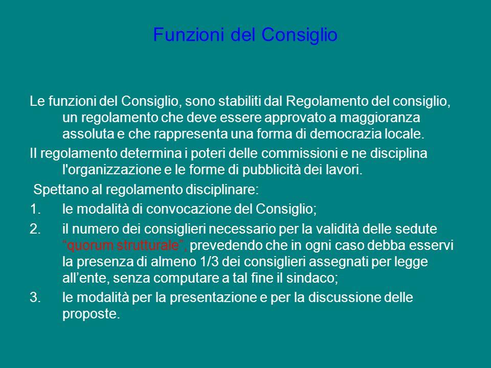 Le funzioni del Consiglio, sono stabiliti dal Regolamento del consiglio, un regolamento che deve essere approvato a maggioranza assoluta e che rappres