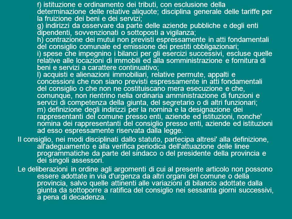 f ) istituzione e ordinamento dei tributi, con esclusione della determinazione delle relative aliquote; disciplina generale delle tariffe per la fruiz
