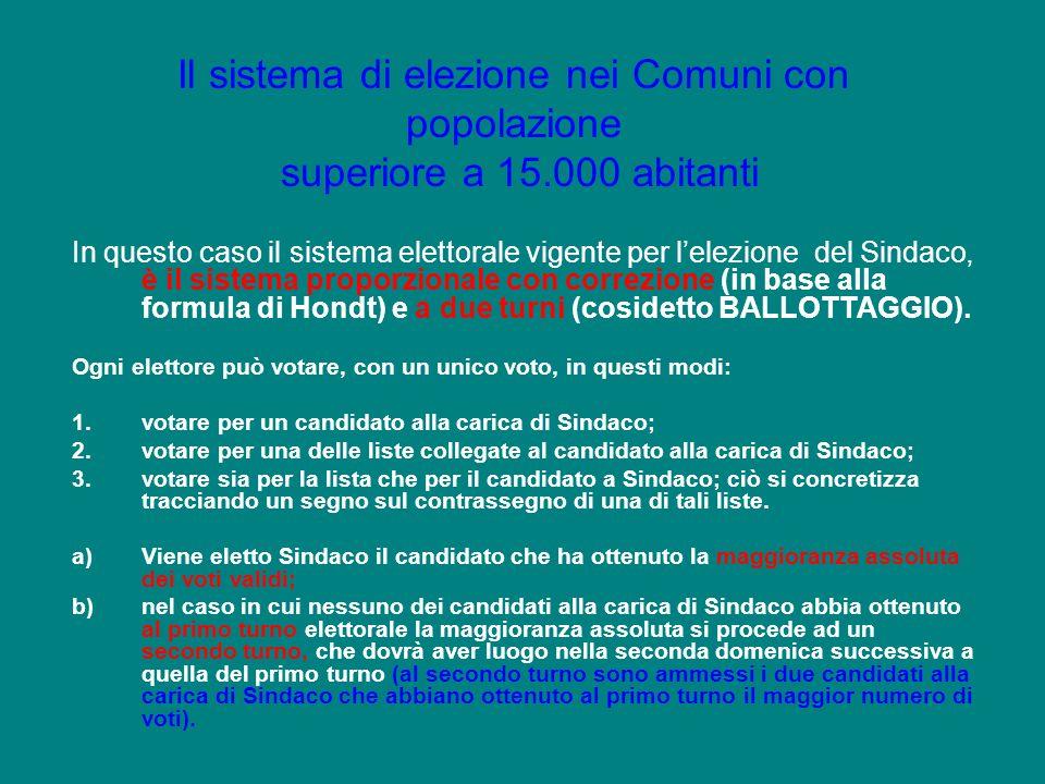In questo caso il sistema elettorale vigente per lelezione del Sindaco, è il sistema proporzionale con correzione (in base alla formula di Hondt) e a