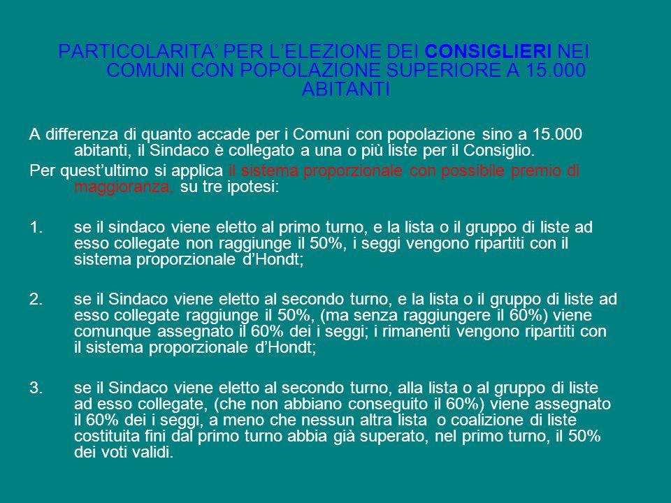 PARTICOLARITA PER LELEZIONE DEI CONSIGLIERI NEI COMUNI CON POPOLAZIONE SUPERIORE A 15.000 ABITANTI A differenza di quanto accade per i Comuni con popo