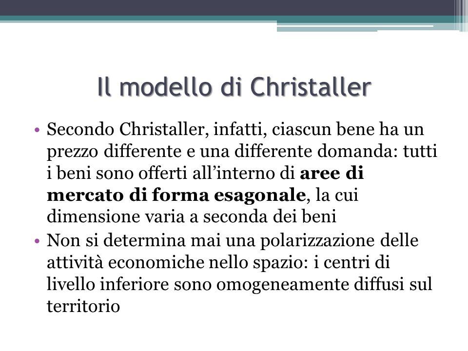 Il modello di Christaller Centro rango A Centro rango B Centro rango C Area rango A Area rango B Area rango C