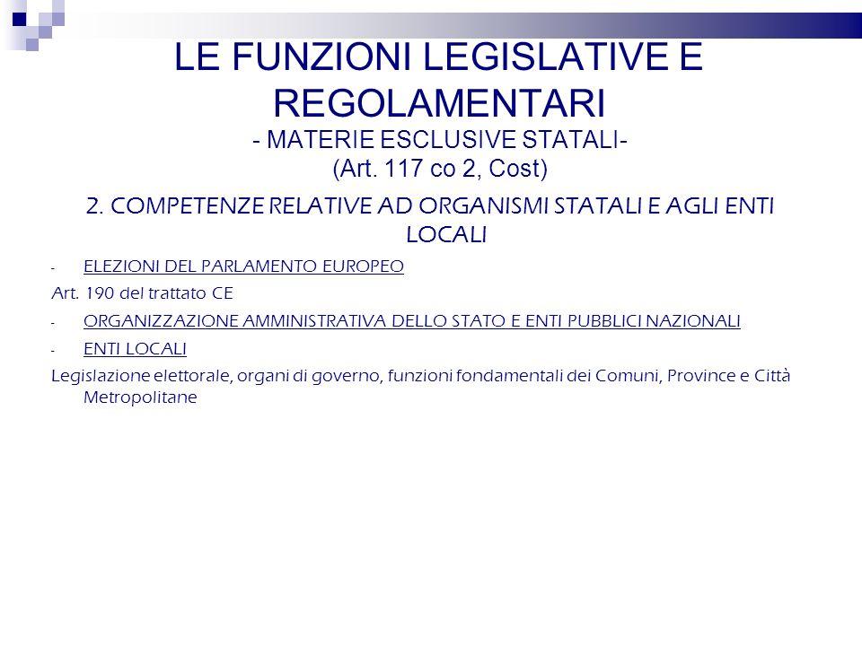 2. COMPETENZE RELATIVE AD ORGANISMI STATALI E AGLI ENTI LOCALI - ELEZIONI DEL PARLAMENTO EUROPEO Art. 190 del trattato CE - ORGANIZZAZIONE AMMINISTRAT
